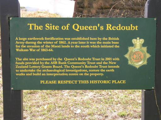 Site of 1863 Queens Redoubt